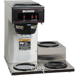 Bunn 13300.0003 Coffee Maker Low Profile Pourover with 3 Warmers Stainless NSF