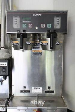 Commercial dual heat coffee maker with faucet, 120/140 volts